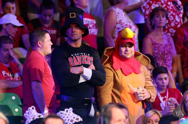 Nov 22, 2018; Paradise Island, BAHAMAS; Wisconsin Badgers fans dressed for Thanksgiving during the second half against the Oklahoma Sooners at Imperial Arena. Mandatory Credit: Kevin Jairaj-USA TODAY Sports
