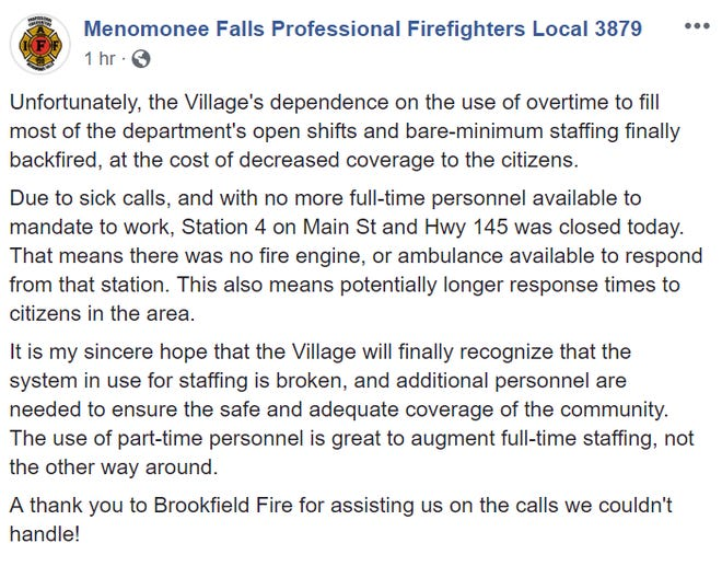 A screenshot of the announcement on the Menomonee Falls Professional Firefighters Local 3879 Facebook page. There was no indication of who wrote it.