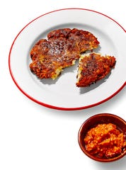 "Potato-Leek Latkes from ""Israeli Soul"" are simple but delicious."