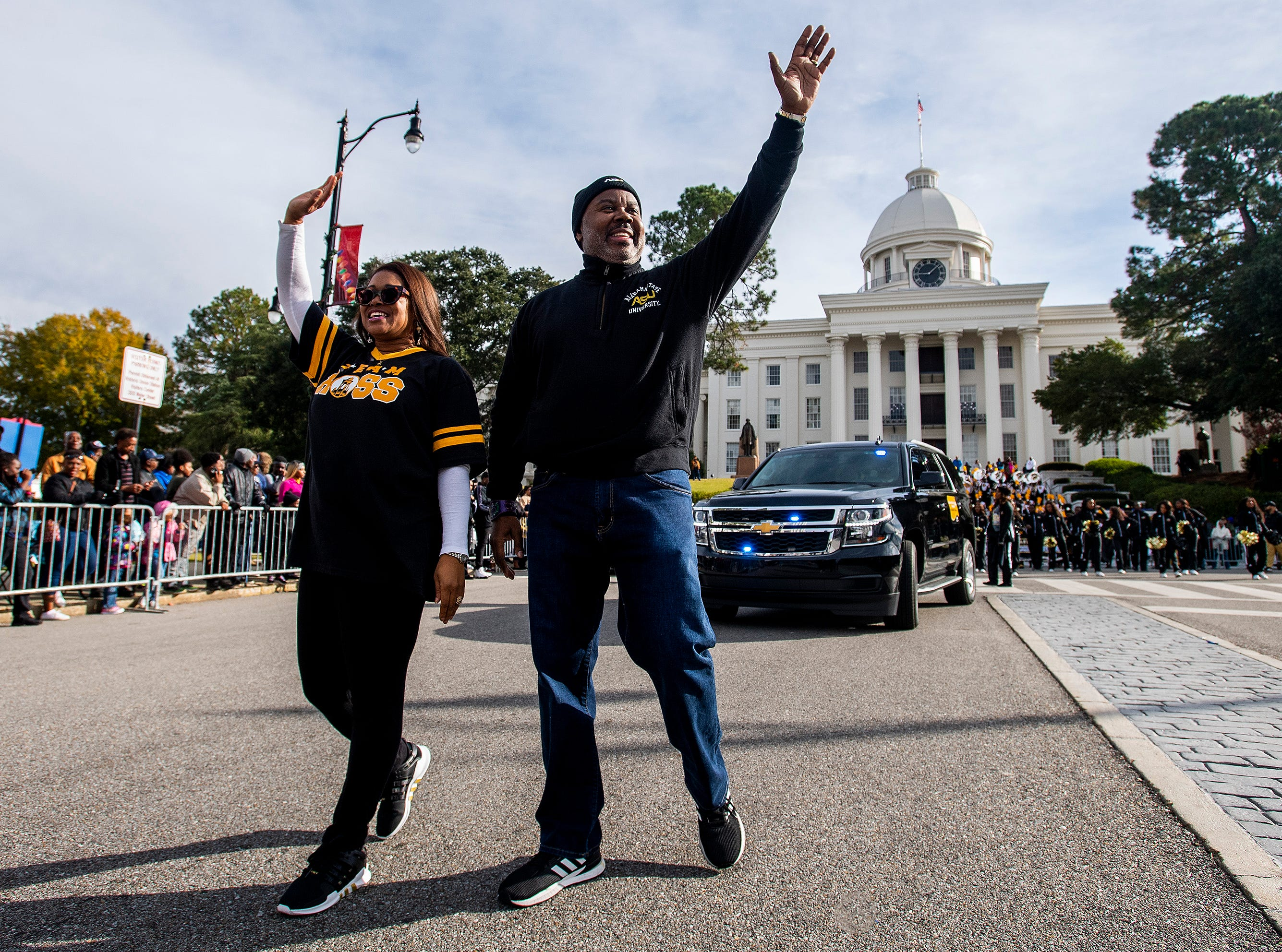 Alabama State University President Quinton Ross during the Turkey Day Classic Parade in downtown Montgomery, Ala., on Thanksgiving Day, Thursday November 22, 2018.