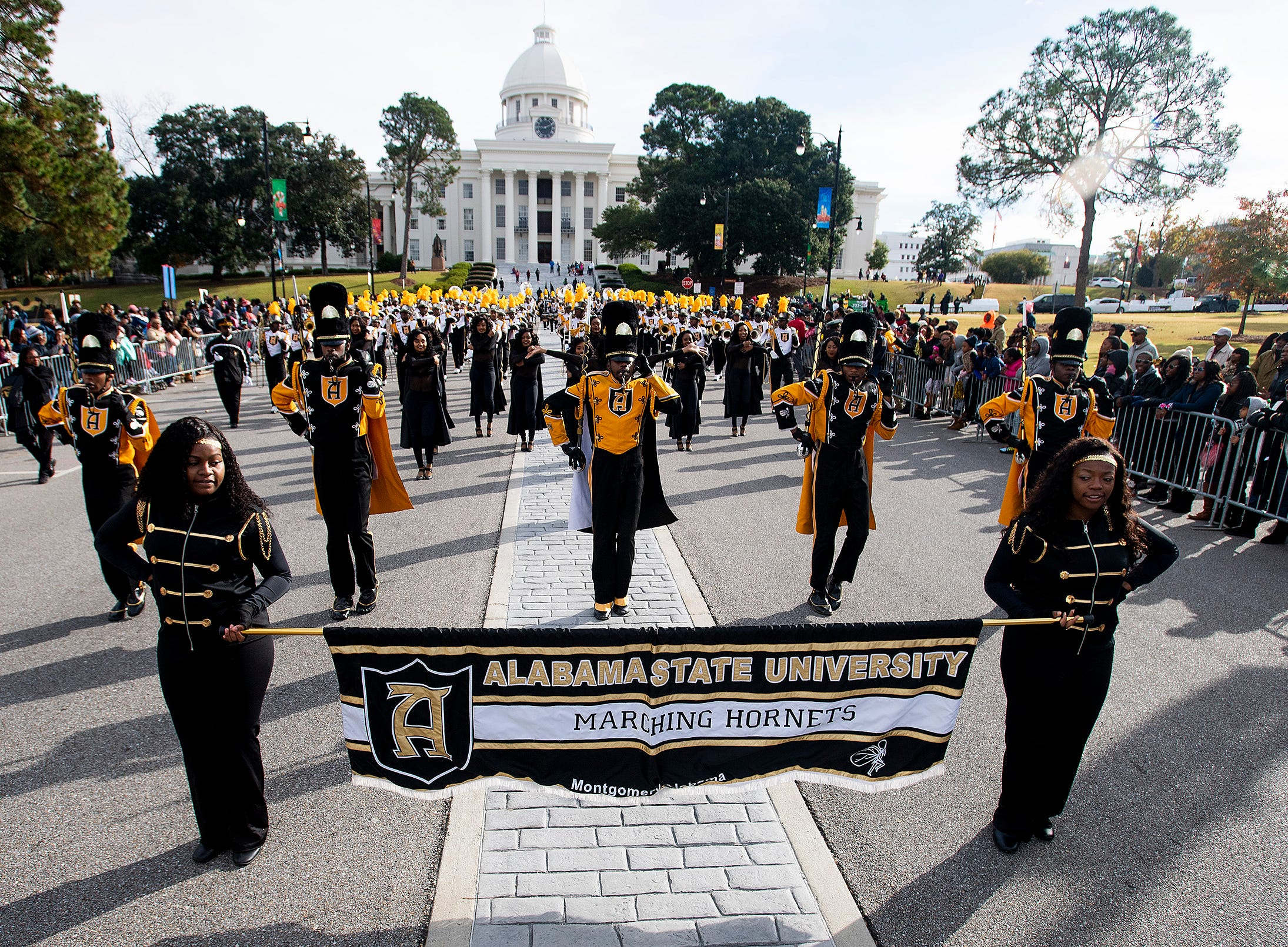 The Alabama State University Marching Hornets during the Turkey Day Classic Parade in downtown Montgomery, Ala., on Thanksgiving Day, Thursday November 22, 2018.