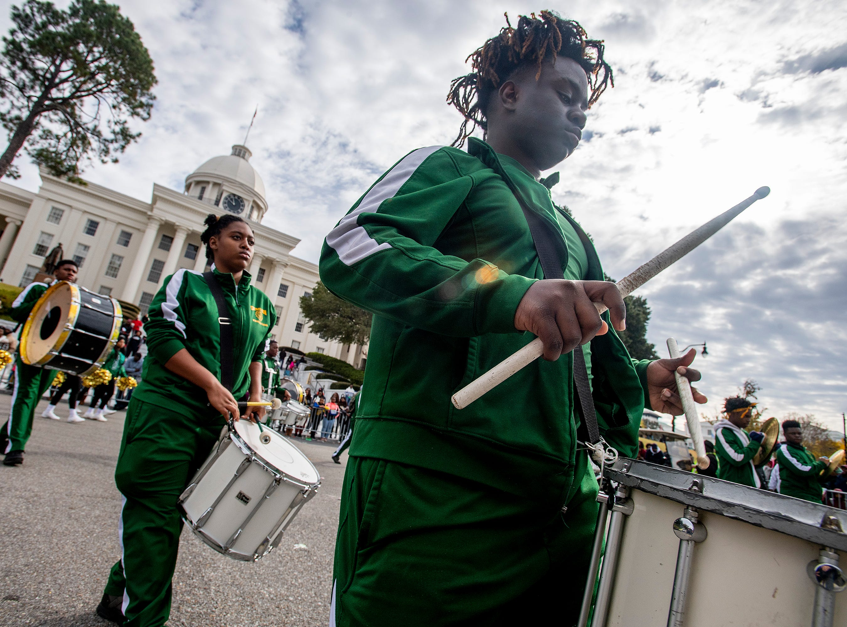 The Central High School Marching Band performs during the Turkey Day Classic Parade in downtown Montgomery, Ala., on Thanksgiving Day, Thursday November 22, 2018.