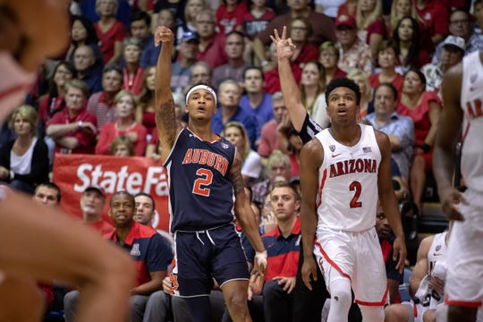 Auburn's Bryce Brown shoots a 3 against Arizona during the Maui Invitational on Nov. 21, 2018.