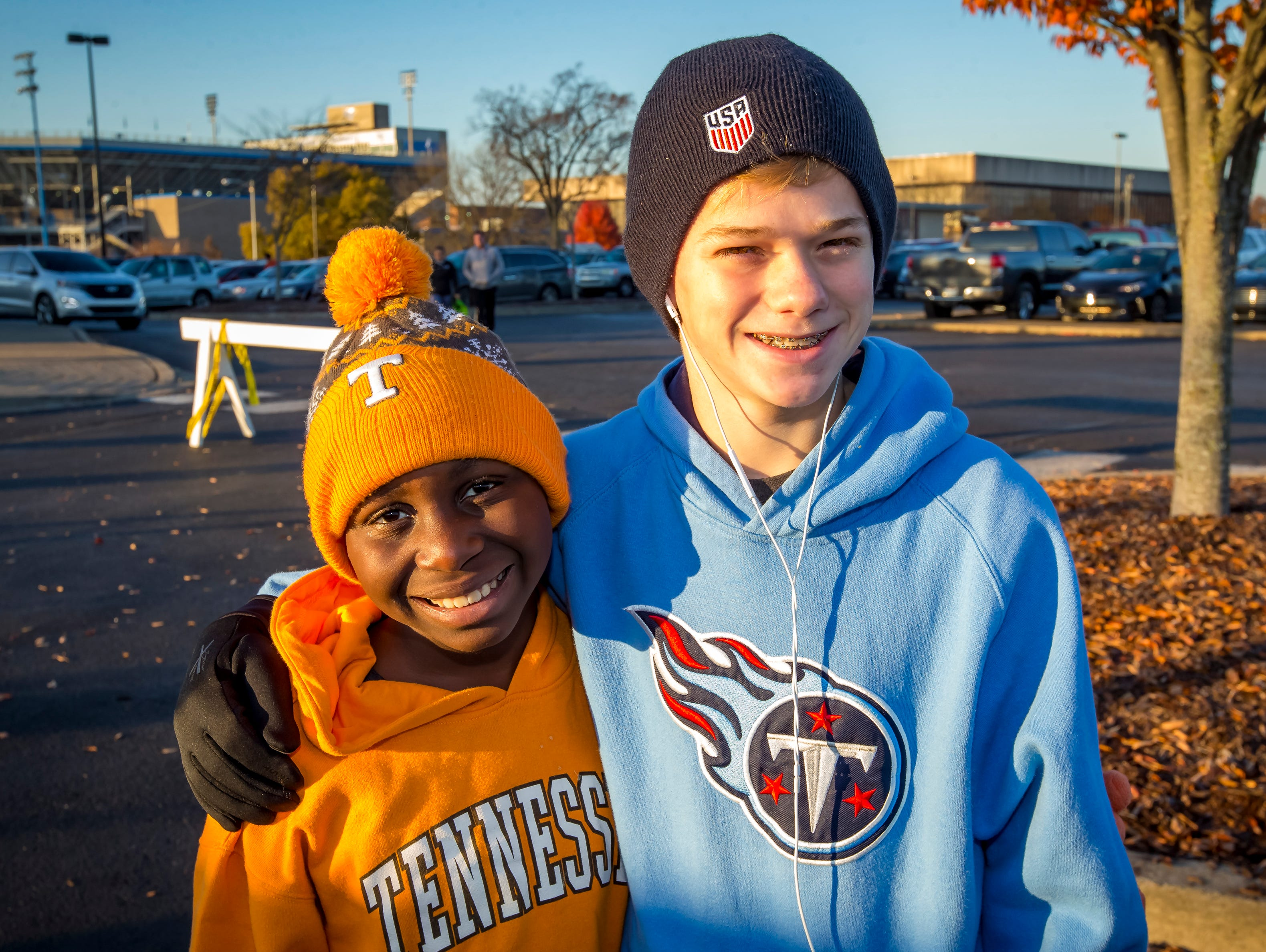 Erza and Knox Wosser take part in the Thanksgiving Day Borodash, a 4-mile walk/run through historic Murfreesboro.