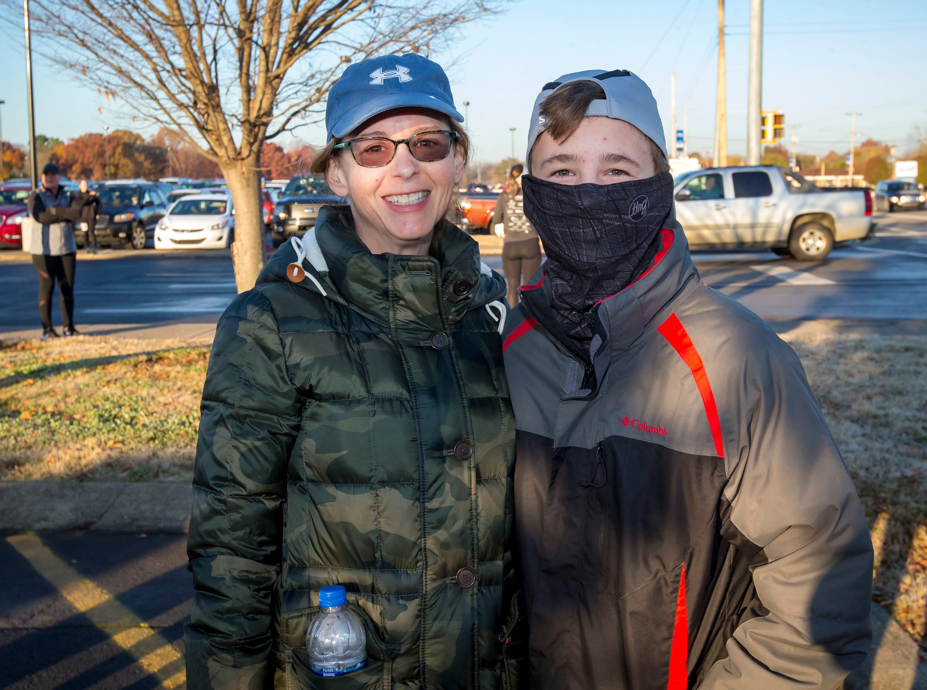 Kelly and Logan Kelley at the Thanksgiving Day Borodash. A 4-mile walk/run through historic Murfreesboro.Jim Davis/for the DNJ