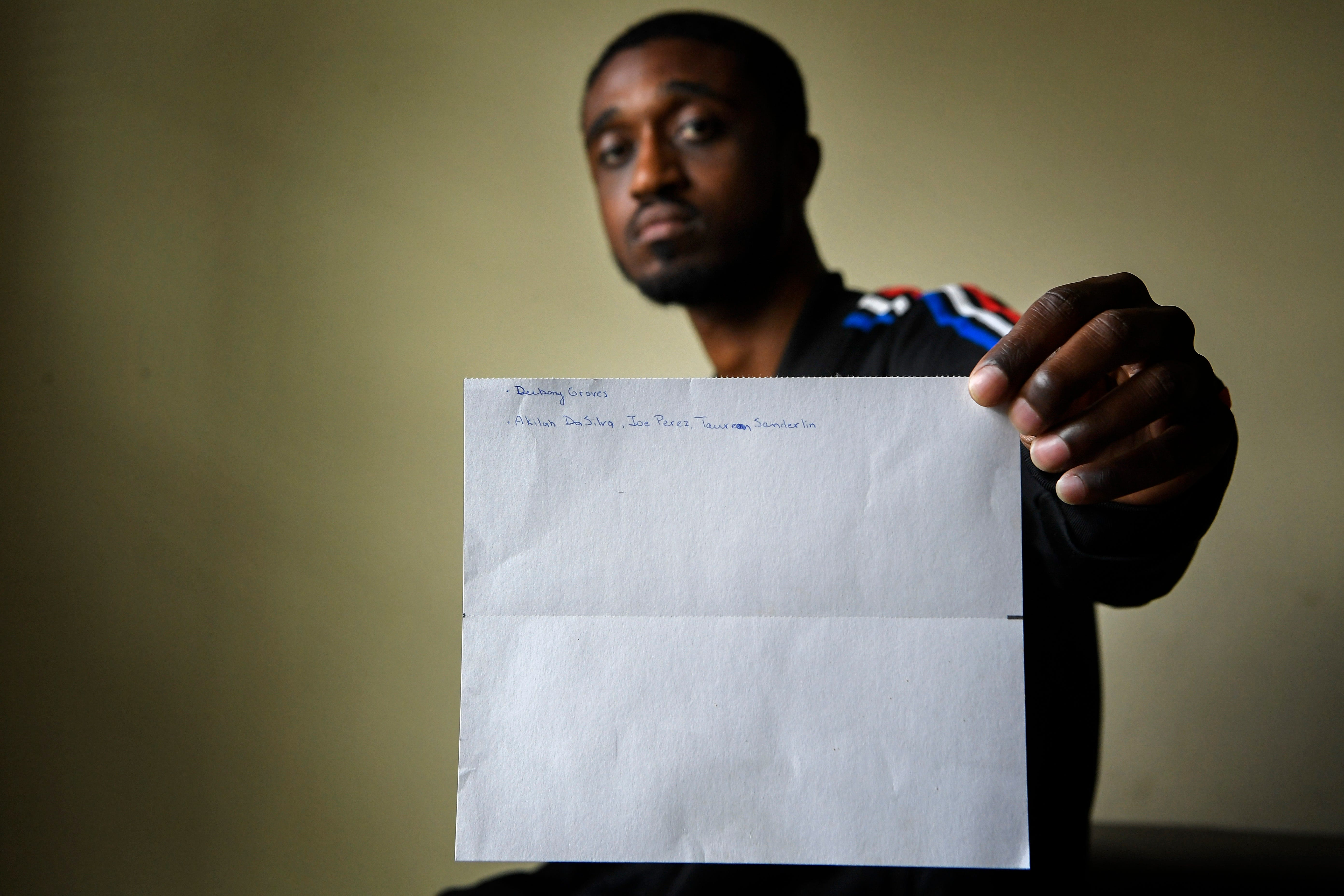 Vincente Tre-Vonne Sneed was at the Waffle House on April 22. In the days that followed, he wrote the victims' names on a piece of paper. He reads them aloud every day.