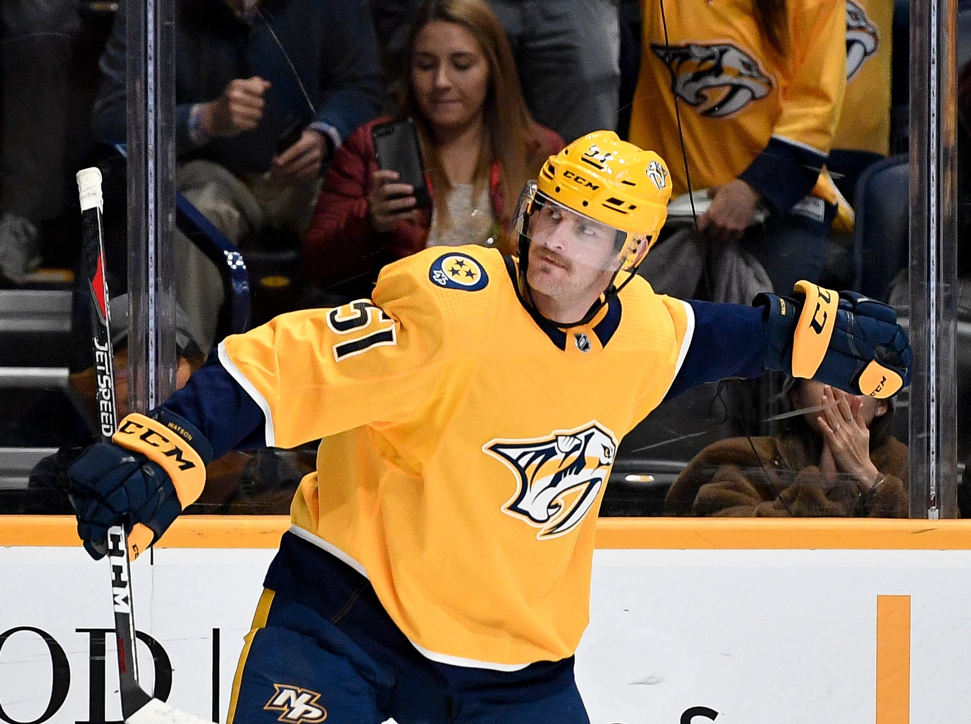 Nashville Predators left wing Austin Watson (51) reacts to scoring against the St. Louis Blues during the third period at Bridgestone Arena in Nashville, Tenn., Wednesday, Nov. 21, 2018.