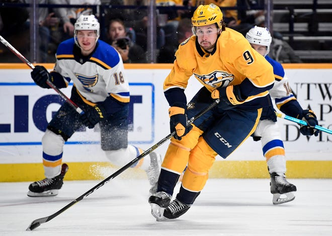 Nashville Predators left wing Filip Forsberg (9) advances against the St. Louis Blues during the second period at Bridgestone Arena in Nashville, Tenn., Wednesday, Nov. 21, 2018.