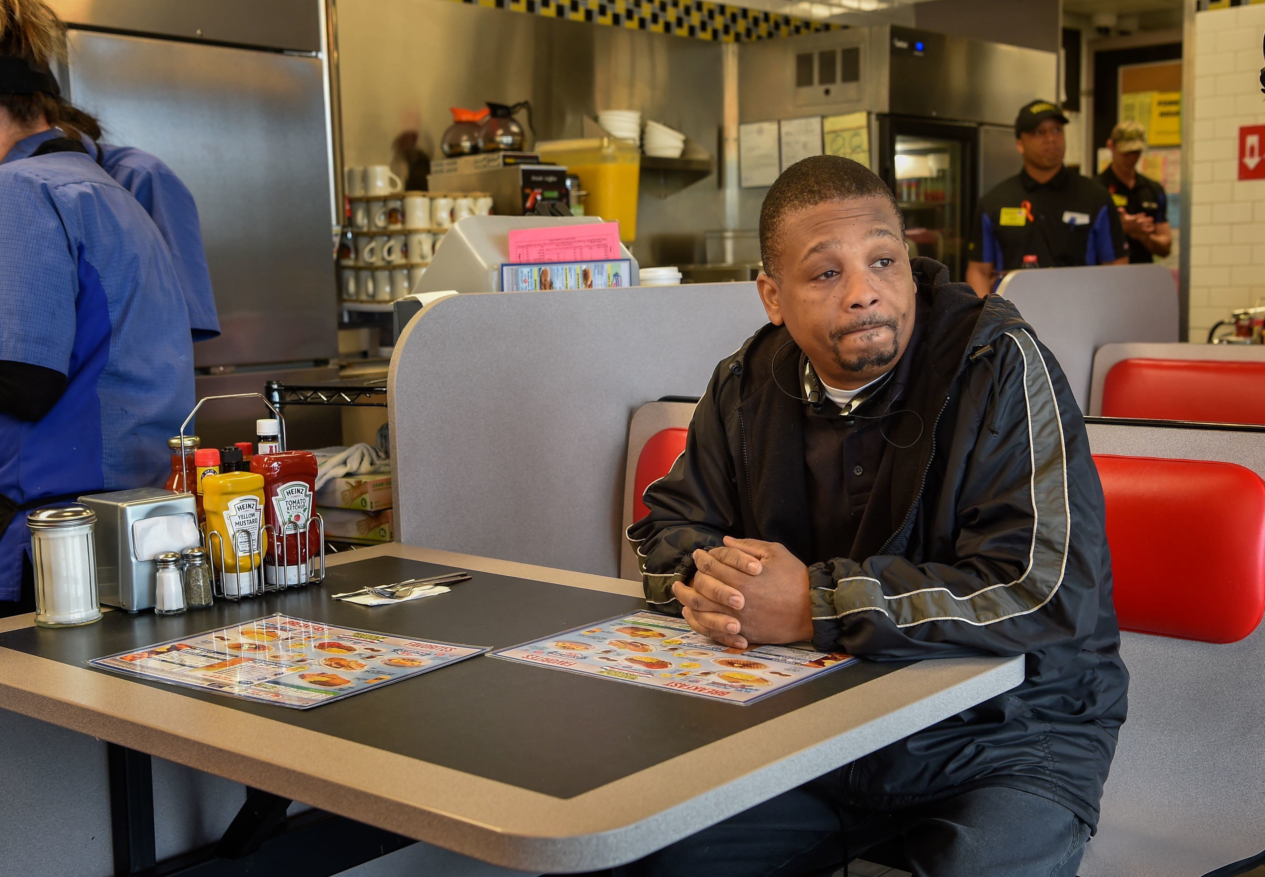 Ronald Page becomes emotional as he waits for his breakfast at the reopened Waffle House in Antioch on April 25, 2018. Page's daughter was a sorority sister of DeEbony Groves, one of the victims of the shooting.