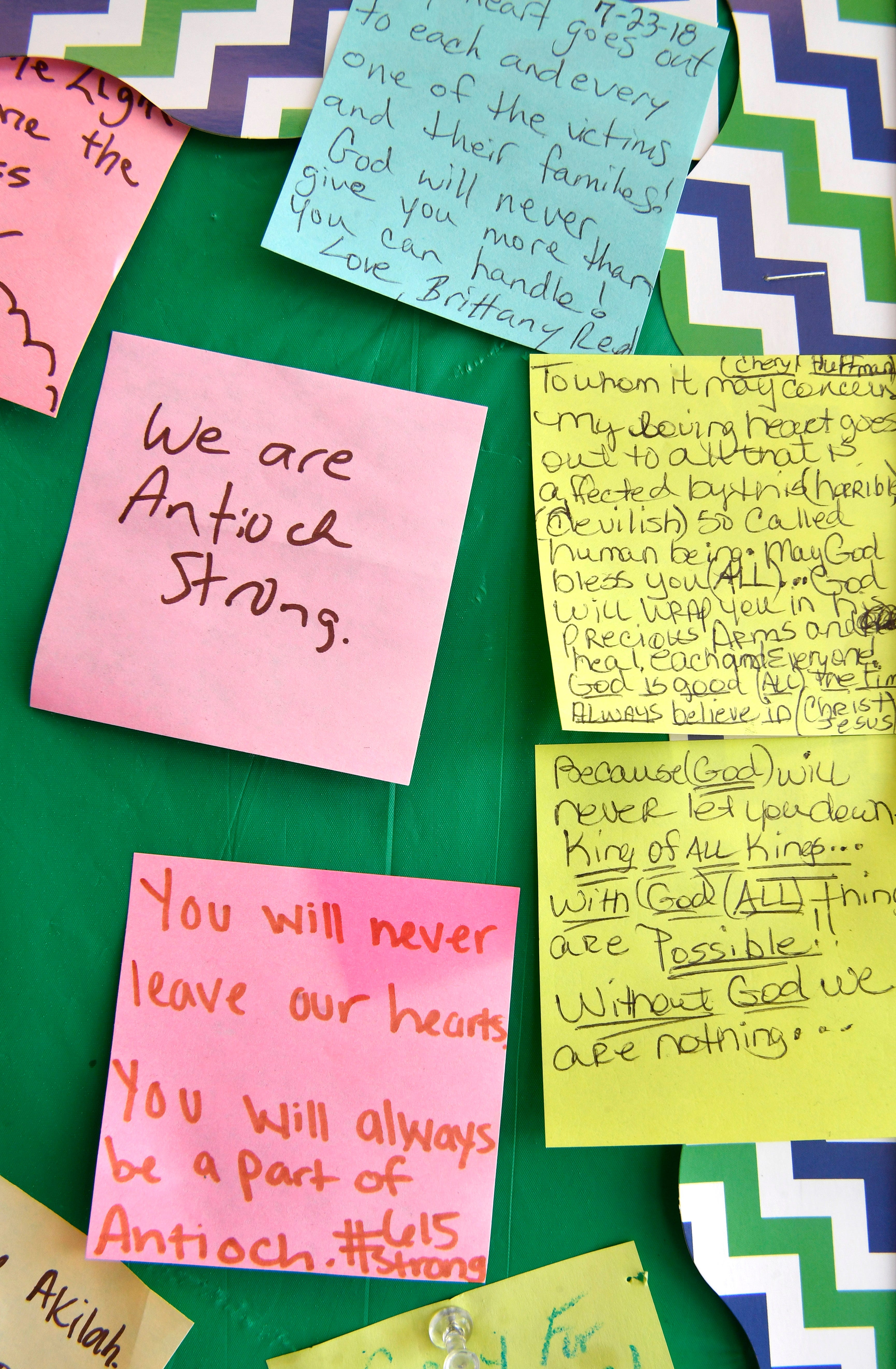 Community members left notes at the Waffle House in support of the victims and survivors in the weeks after the shooting.
