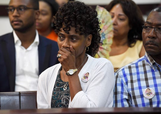 Shirl Lynette Baker, mother of Waffle House shooting victim DeEbony Groves, listens in the hearing on the mental health of Travis Reinking in criminal court Wednesday, Aug. 22, 2018, in Nashville, Tenn. Reinking is suspected of killing four people in a mass shooting in April at a Nashville Waffle House.