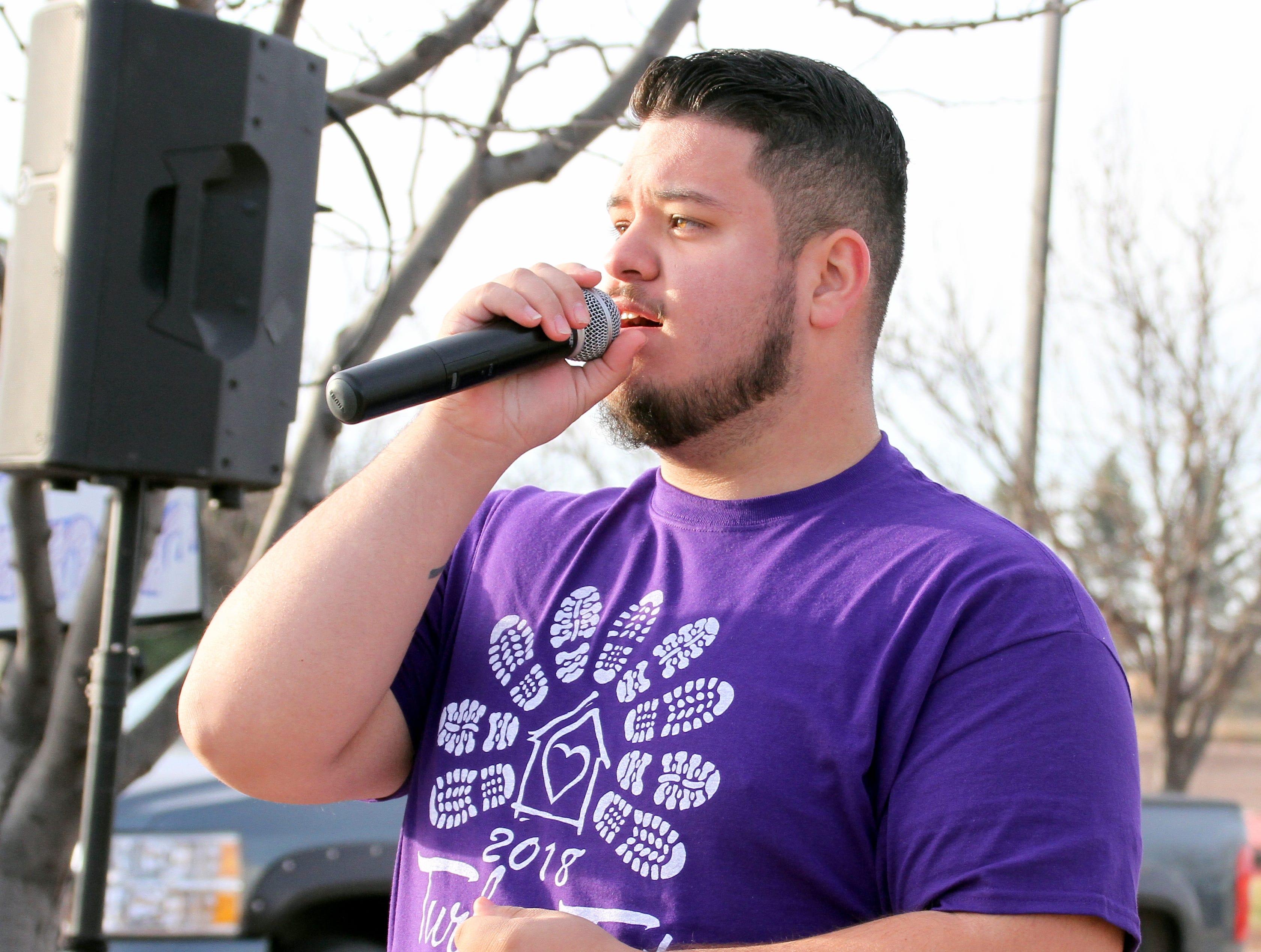 Gabe Galarza sang the national anthem.