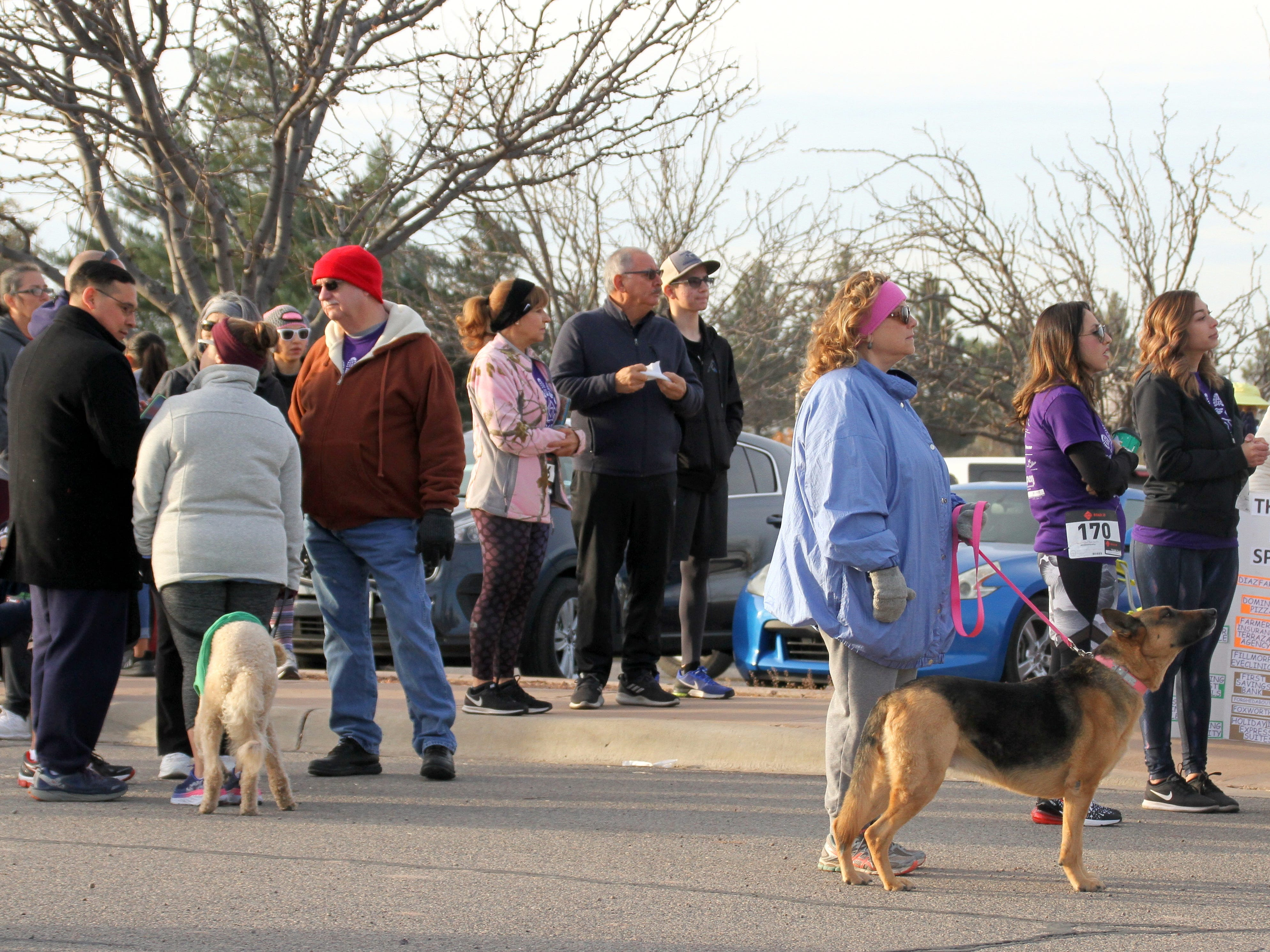 Pet owners brought their dogs for the 2-mile walk.