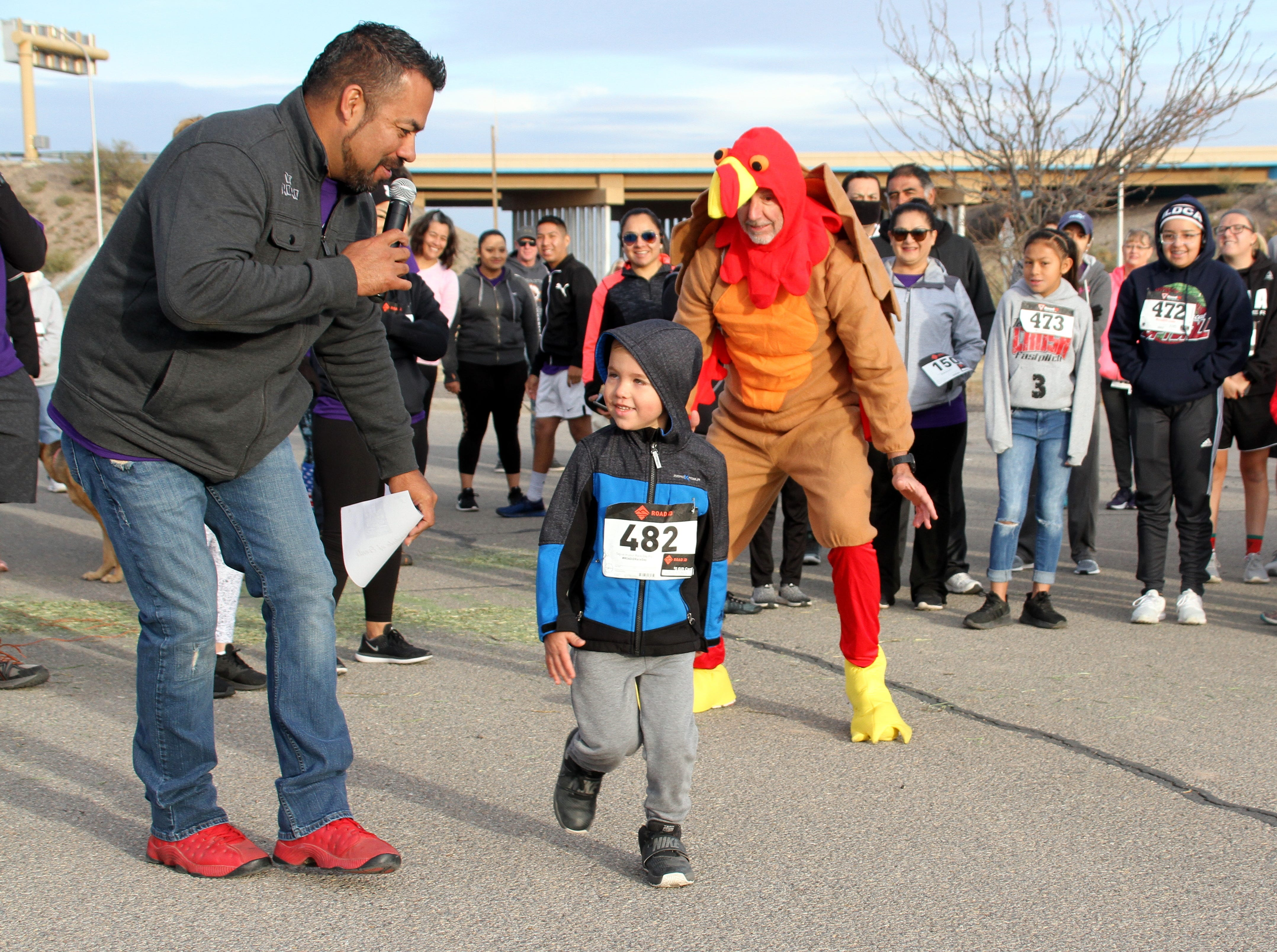 "Isaiah Croker, 5, gets a big send-off from DJ No No and the ""Turkeynator."""