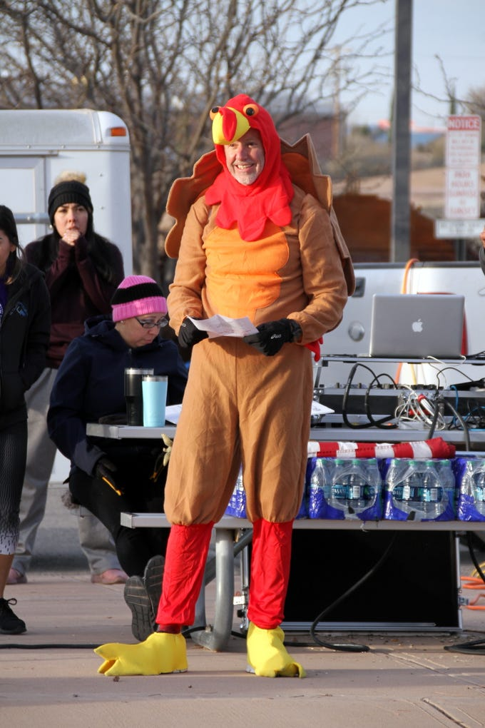 """Mark Schultze was dressed for the occasion as the """"Turkeynator."""""""