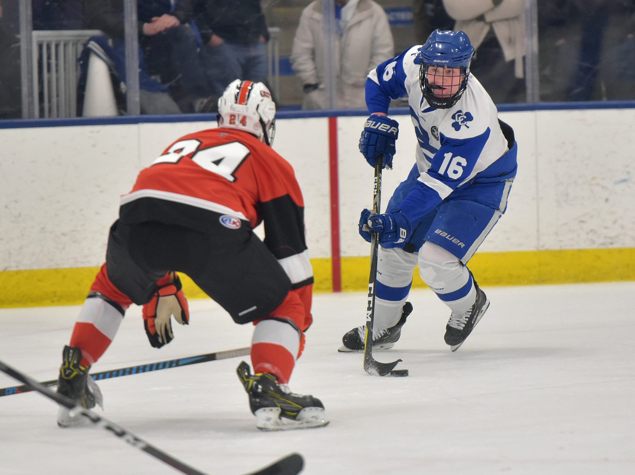 CC forward Dylan Dooley (16) has his eye on a shot, but he has to get by Rice defense Clayton Kramm (24).