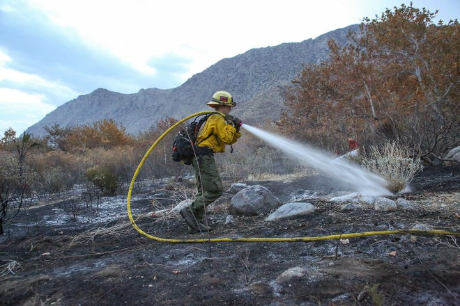 Rachel Boot with the U.S. Forest Service extinguishes hot spots from a brush fire that started on Tramway Road in Palm Springs, November 21, 2018.