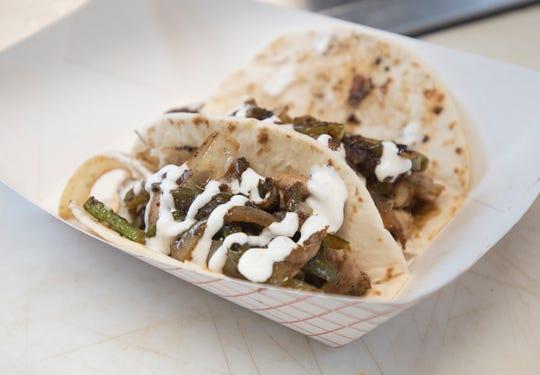Chicken fajita tacos in the The Happy Taco food truck on New Warrington Road in Pensacola on Wednesday, November 21, 2018.