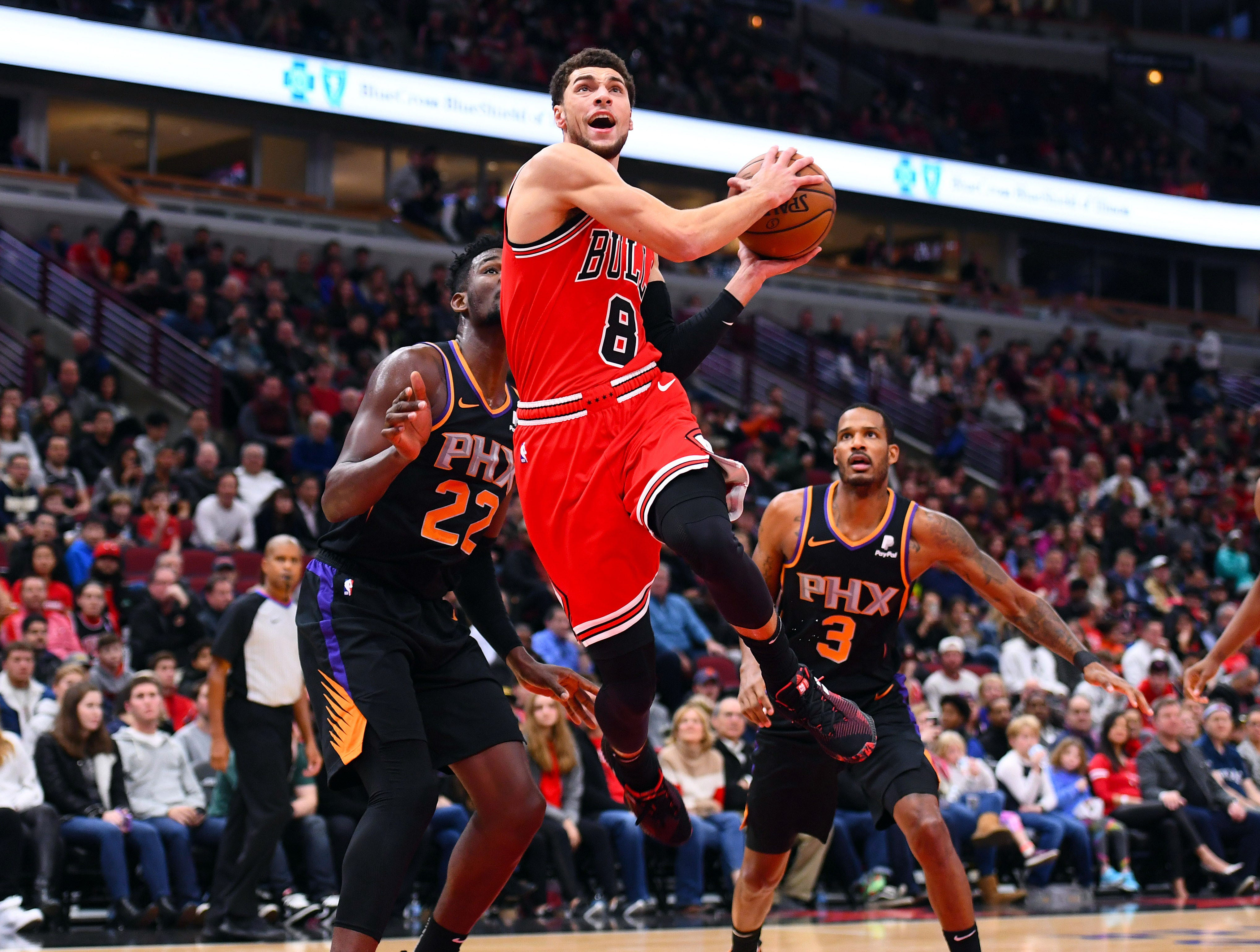 Bulls guard Zach LaVine drives to the basket during the first half of a game Nov. 21 against the Suns at the United Center.
