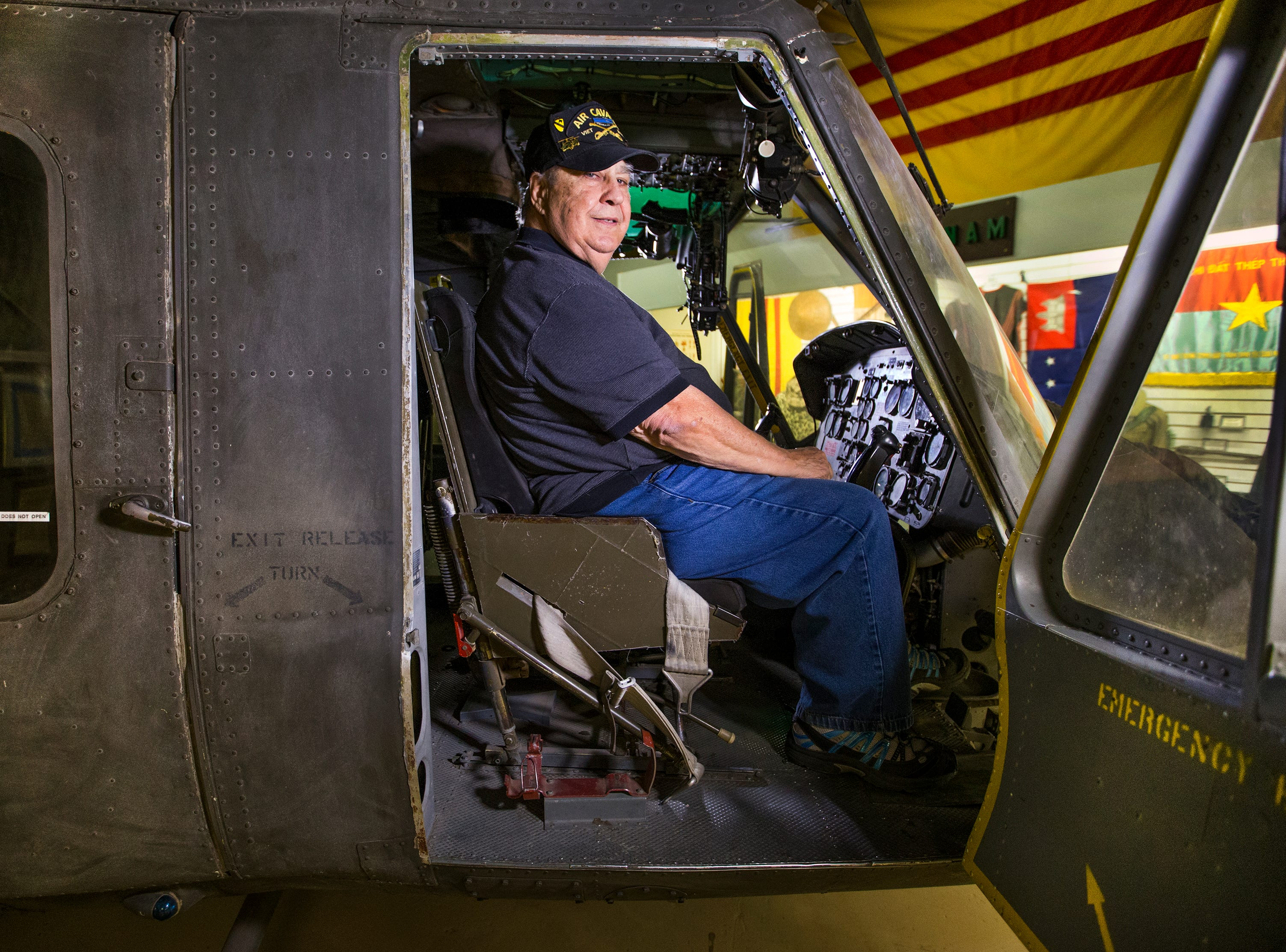 Col. Joseph Abodeely has headed the award-winning Arizona Military Museum, sponsored by the Arizona National Guard Historical Society, since 1980. He and the museum have been activity involved in community events honoring veterans including Arizona's Vietnam veterans who are the largest group of living veterans.  He sits Nov. 21, 2018, in a Bell UH-1 helicopter at the museum that flew in the Vietnam War. The museum is located on the Arizona National Guard Papago Park Military Reservation at 5636 E McDowell Road in Phoenix and admission is free.