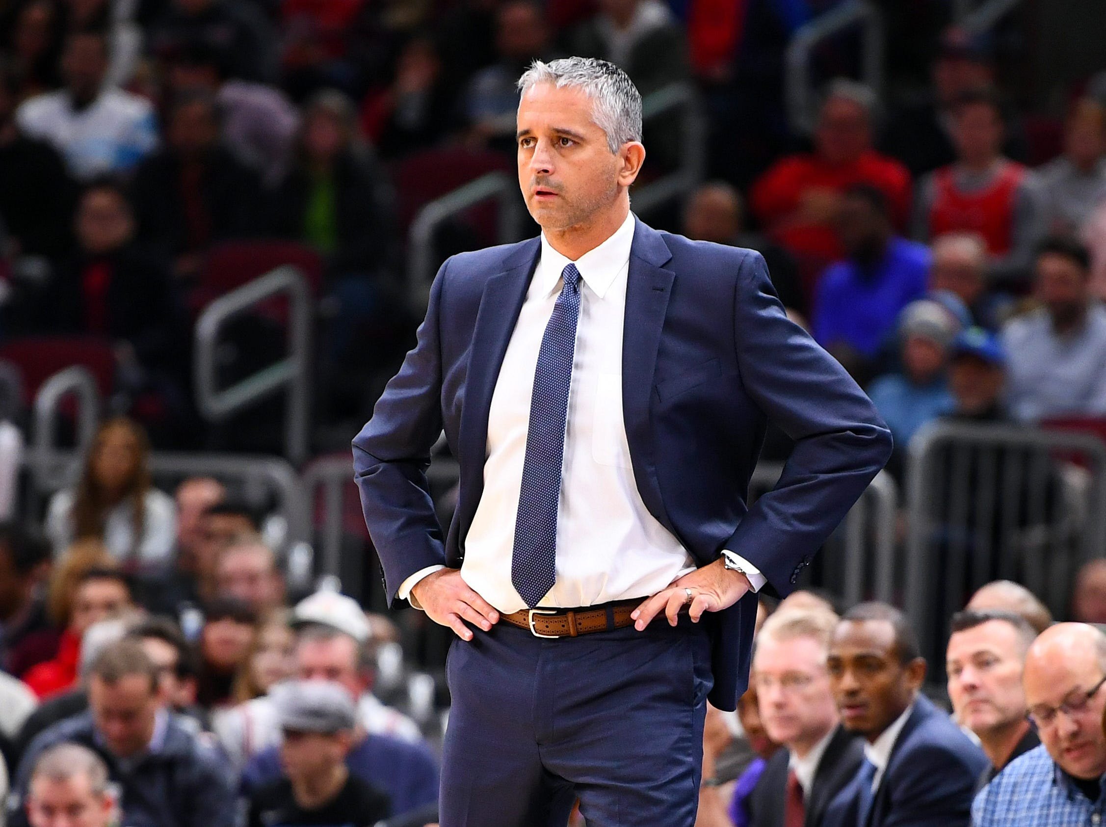 Nov 21, 2018; Chicago, IL, USA; Phoenix Suns head coach Igor Kokoskov during the first half against the Chicago Bulls at the United Center. Mandatory Credit: Mike DiNovo-USA TODAY Sports