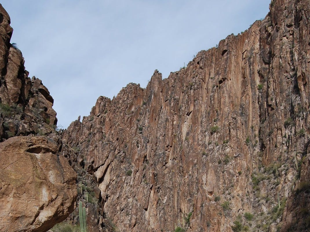 Inside LaBarge narrows in Arizona's Superstition Mountains.