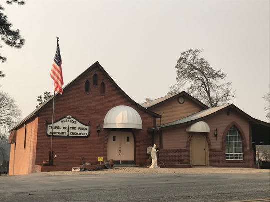 Chapel of the Pines mortuary in Paradise, California.