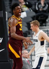 Arizona State's De'Quon Lake celebrates after scoring against Utah State during the first half of the MGM Resorts Main Event Tournament final on Nov. 21.