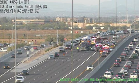 Multi-vehicle collision caused the Southbound Loop 101 to experience long delays the Wednesday before Thanksgiving.