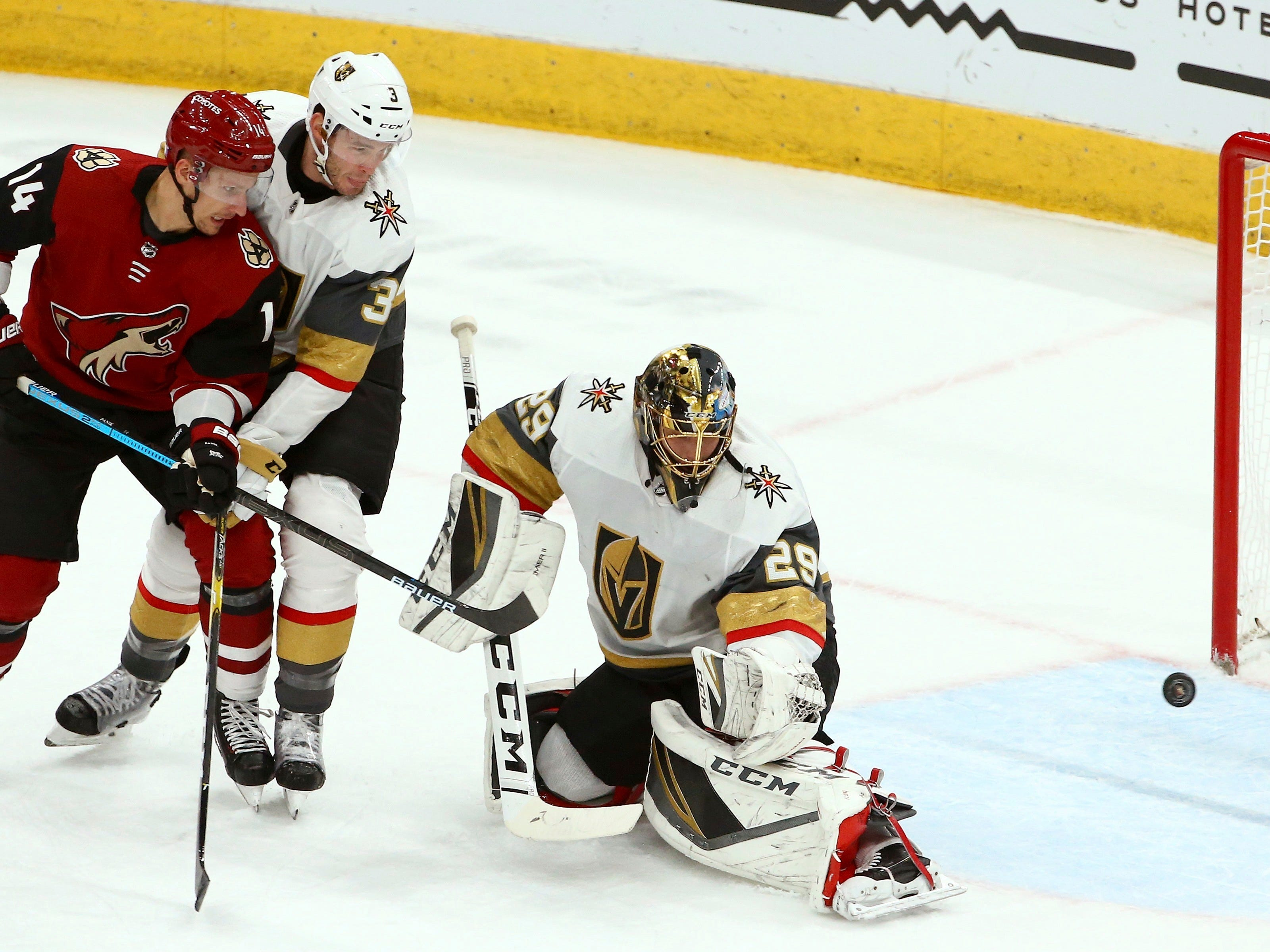 Golden Knights goaltender Marc-Andre Fleury (29) gives up a goal to Coyotes forward Derek Stepan during the first period of a game Nov. 21 at Gila River Arena