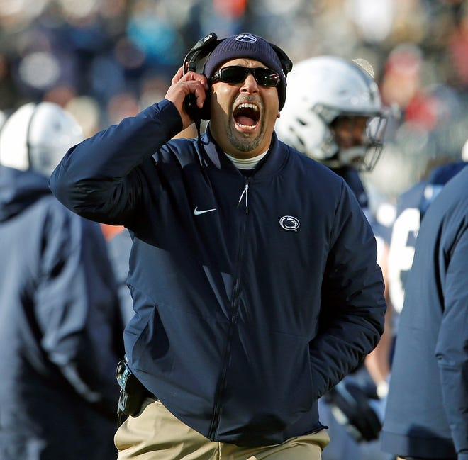 Penn State head coach James Franklin, yells at the referee during a timeout against Wisconsin in the second half of an NCAA college football game in State College, Pa., Saturday, Nov. 10, 2018. Penn State won 22-10. (AP Photo/Chris Knight)
