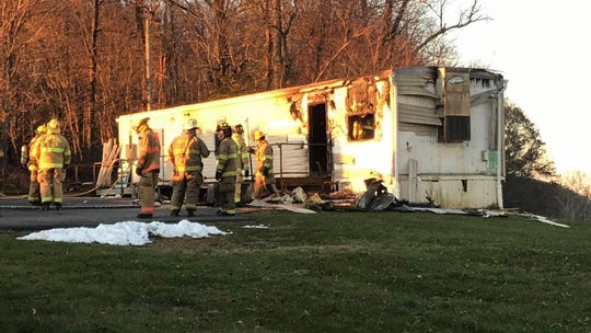 Fire crews responded to a trailer fire in the 500 block of Broad Street in Peach Bottom Township on Thanksgiving morning. Photo courtesy of  Greg Fantom with the Delta-Cardiff Volunteer Fire Company.