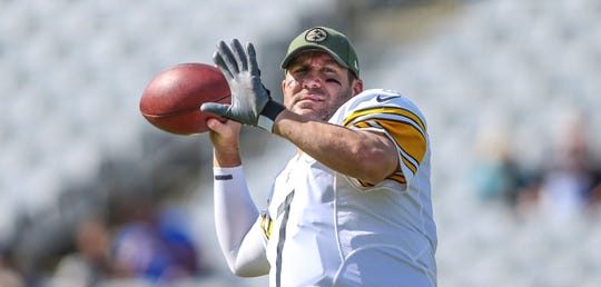 Pittsburgh Steelers quarterback Ben Roethlisberger (7) during warm-ups prior to an NFL football game against the Jacksonville Jaguars in Jacksonville, Fla., Sunday, Nov. 18, 2018. (AP Photo/Gary McCullough)