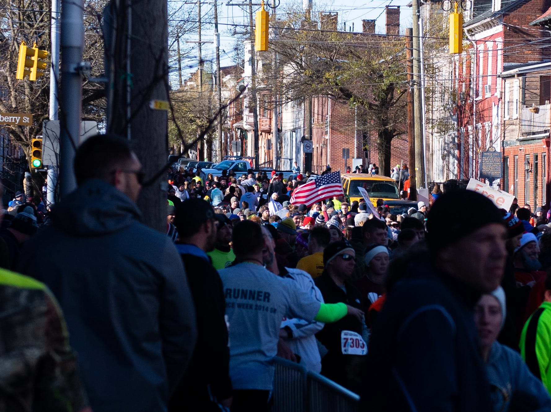 Racers fill up West King Street after completing the 22nd Annual Turkey Trot 5K, on Thanksgiving Day, November 22, 2018.