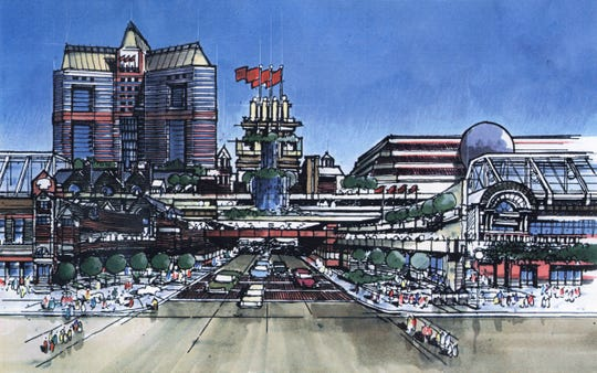 Artist's rendering of the 1997 Reno Expo Center proposal for Fourth Street.