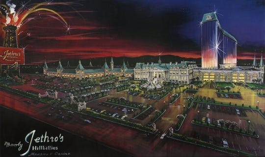 Jethro's Beverly Hillbillies Mansion & Casino was envisioned as the centerpiece of Park Lane Mall. The mall's exterior would have been changed to blend in with the new hotel-casino theme.