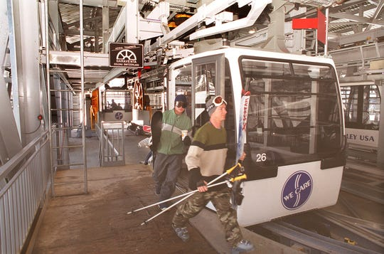Skiers disembark from  a Funitel gondola car atop the mountain at Squaw Valley USA in 2000. Kingsbury Summit project developers wanted to build a similar gondola linking the Carson Valley to the South Lake Tahoe area.