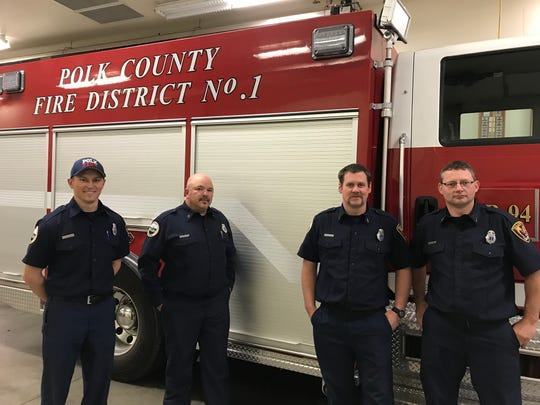 Firefighter Ryan Cox, Capt. Mike Rusher, Engine Boss Lt. Jim Burke and Lt. Stephen Hoem made up the strike team from Polk County Fire District 1 battling the Camp Fire in Paradise, California.