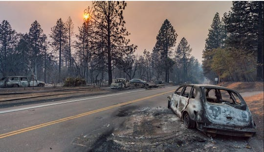 The Camp Fire Wildfire destroys the town of Paradise near Chico, California.