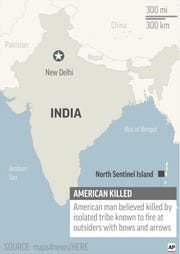Map locates North Sentinel Island, India, where an American was believed killed by isolated tribe