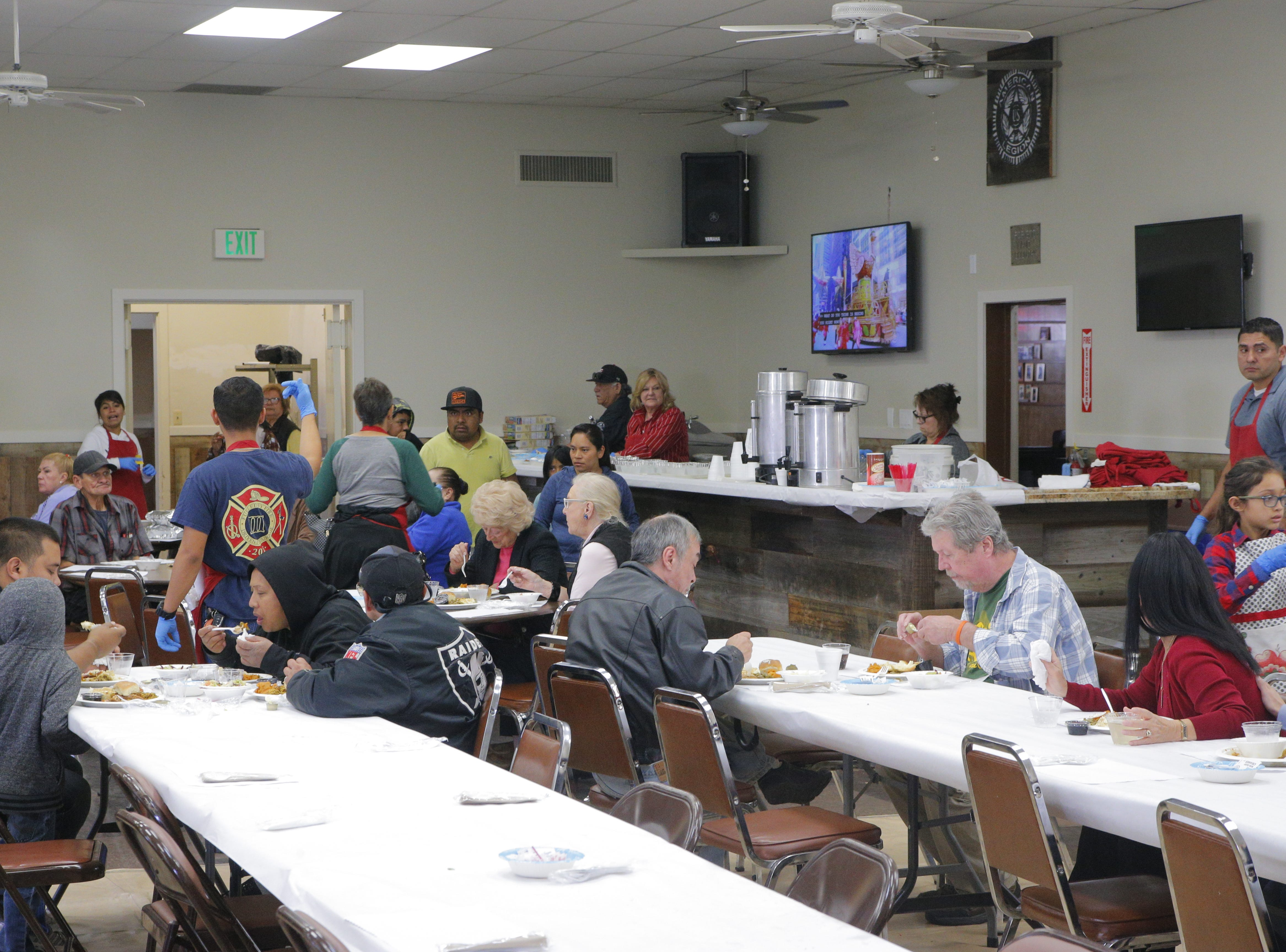 About 500 to 600 Thanksgiving meals were expected to be served, some to go, at the American Legion Post 31 in Salinas Thursday.