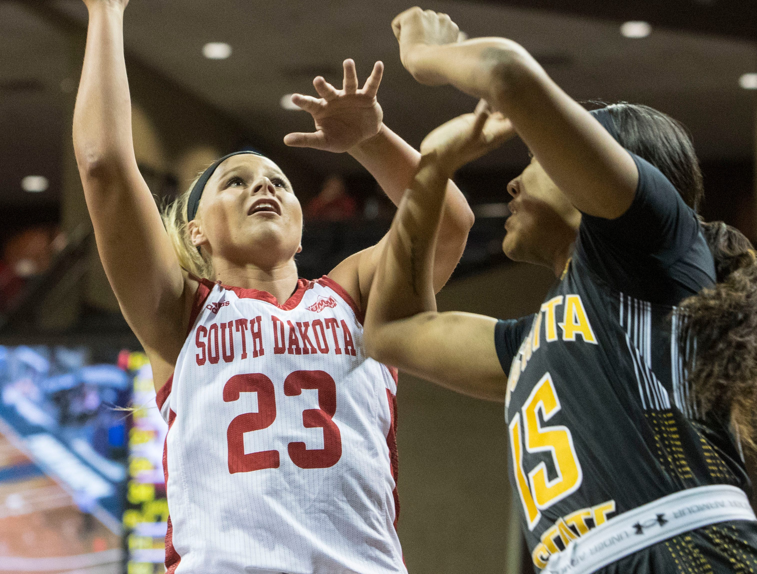 USD's Madison McKeever (23) goes up for a shot during a game against Wichita State at the Sanford Pentagon in Sioux Falls, S.D., Wednesday, Nov. 21, 2018.