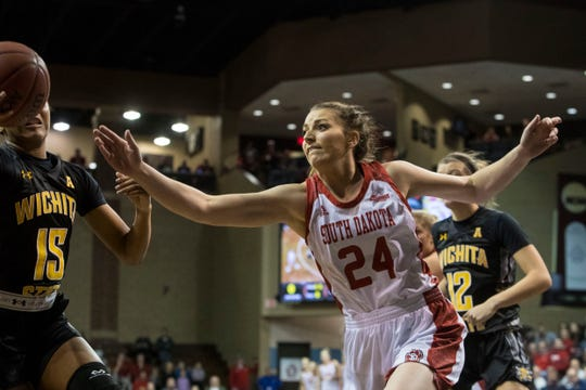 USD's Ciara Duffy (24) goes for the ball during a game against Wichita State at the Sanford Pentagon in Sioux Falls, S.D., Wednesday, Nov. 21, 2018.