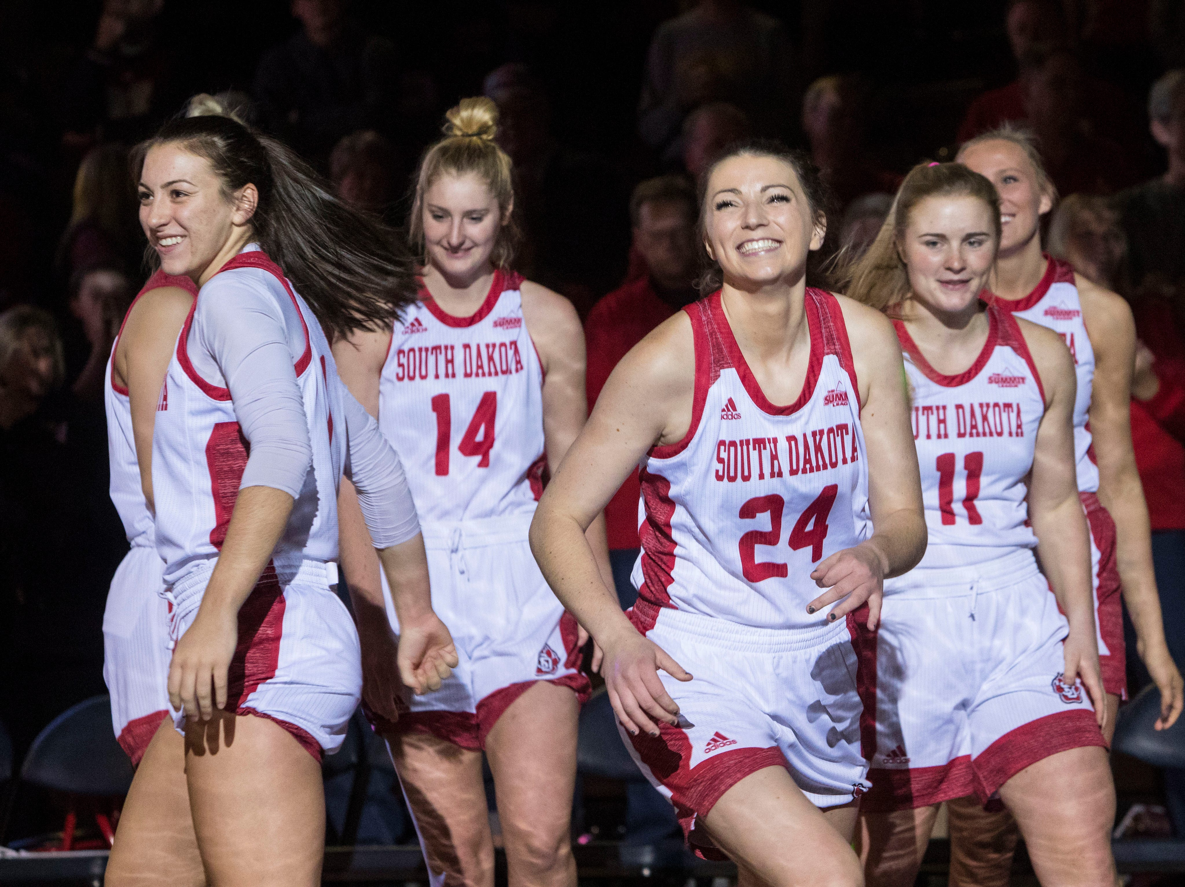 USD players get introduced to the crowd before the game against Wichita State at the Sanford Pentagon in Sioux Falls, S.D., Wednesday, Nov. 21, 2018.