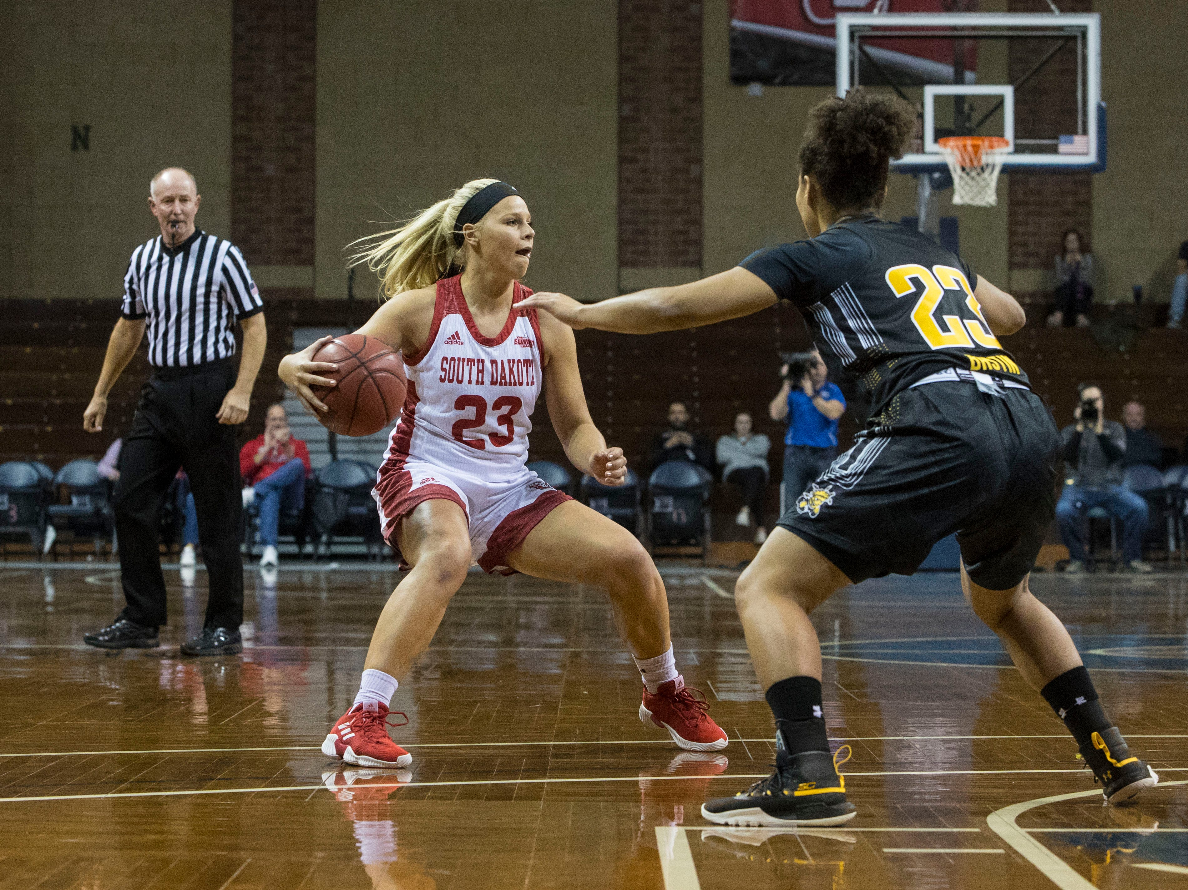 USD's Madison McKeever (23) looks to pass the ball during a game against Wichita State at the Sanford Pentagon in Sioux Falls, S.D., Wednesday, Nov. 21, 2018.