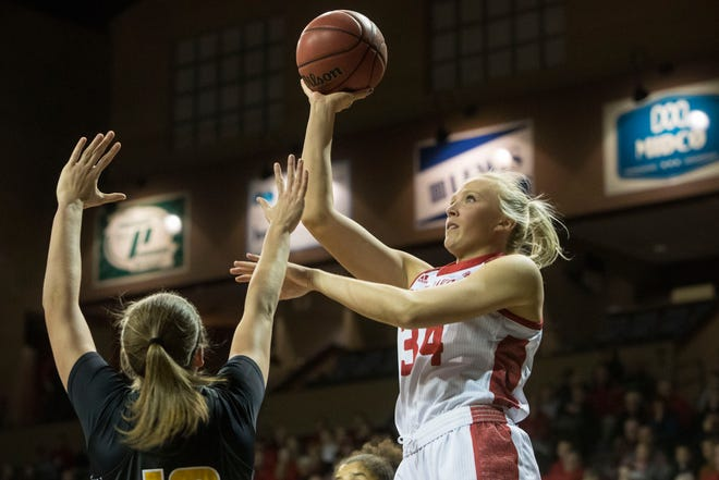USD's Hannah Sjerven (34) goes up for a shot  during a game against Wichita State at the Sanford Pentagon in Sioux Falls, S.D., Wednesday, Nov. 21, 2018.