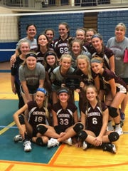 The seventh grade volleyball team at Cherokee Middle School won the All City Tournament.