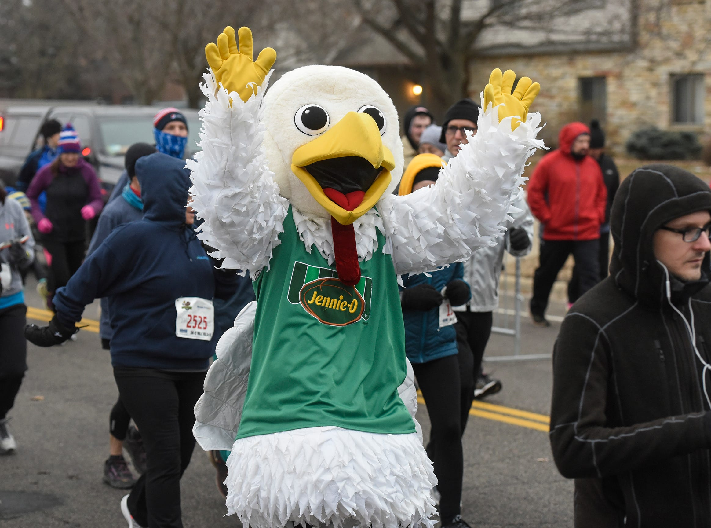 The Jennie-O mascot takes part in the Wishbone 5K Thursday, Nov. 22, at the St. Cloud Area Family YMCA.