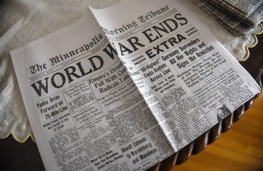 A reproduction newspaper greets visitors to the Charles Lindbergh House in Little Falls.