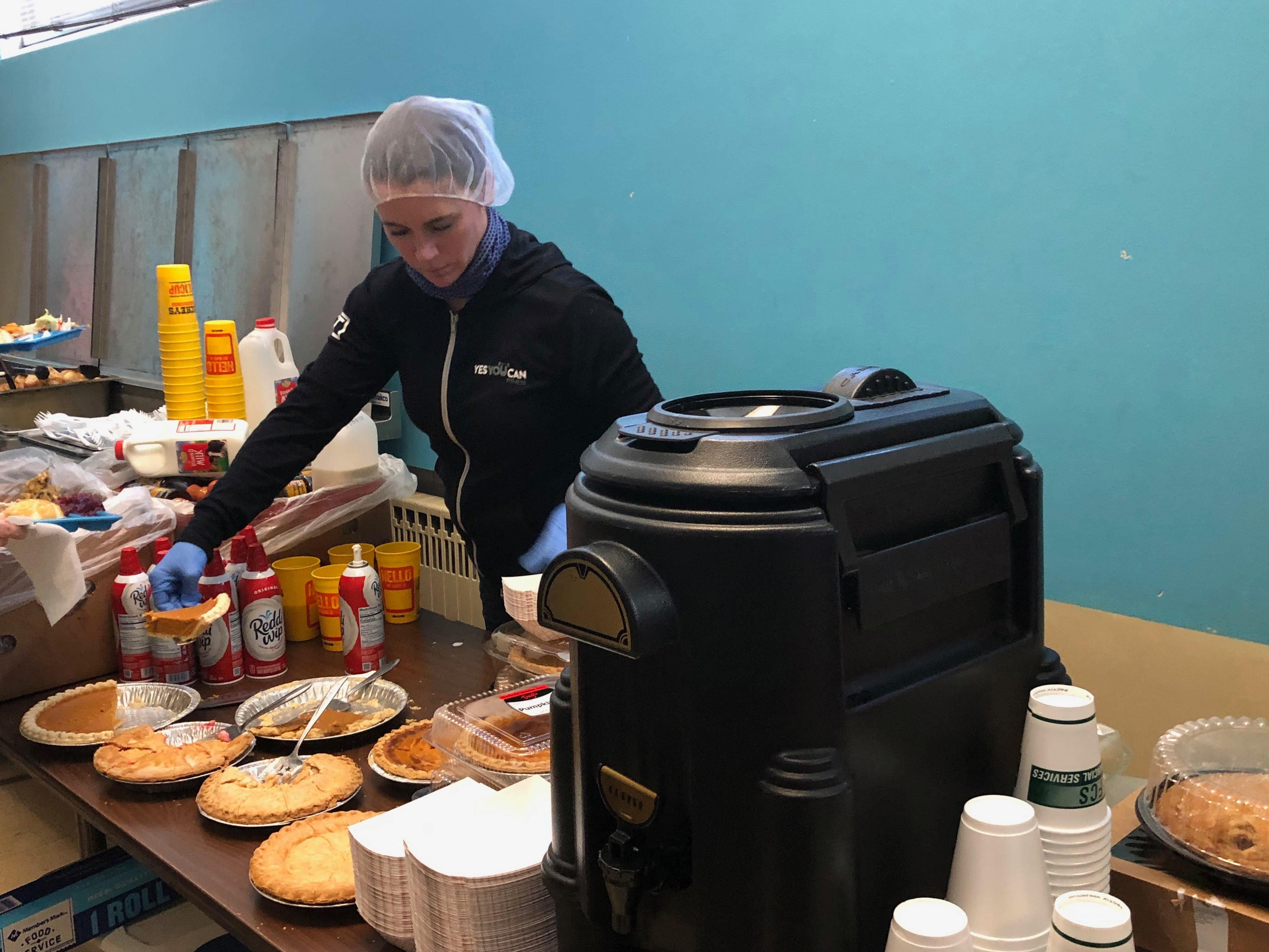 A woman serves up pie at the Salvation Army on Nov. 21.
